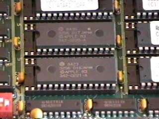 close up of 64K Mac ROMs on a Gemulator ROM card