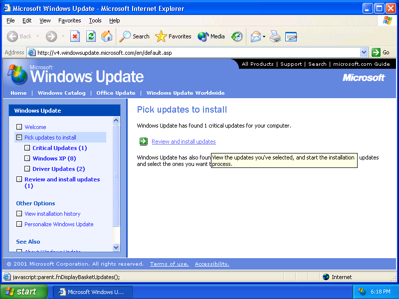 XP Windows Update screen 1
